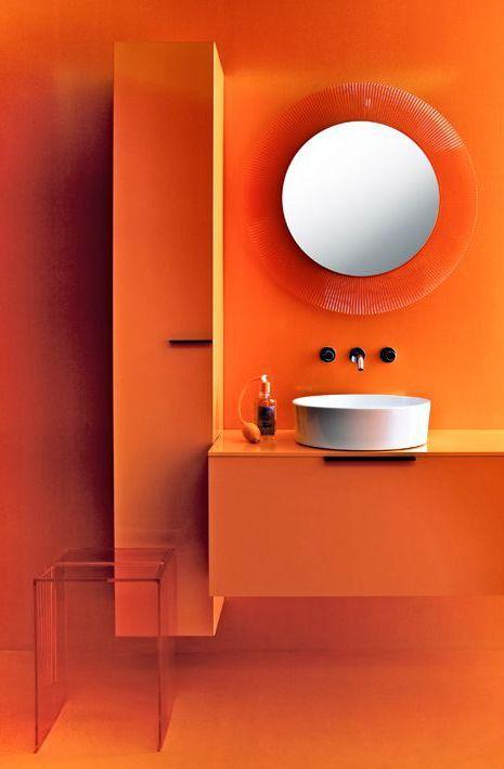 Wellness-Oase Badezimmer   Orange badezimmer, Spiegel design ...
