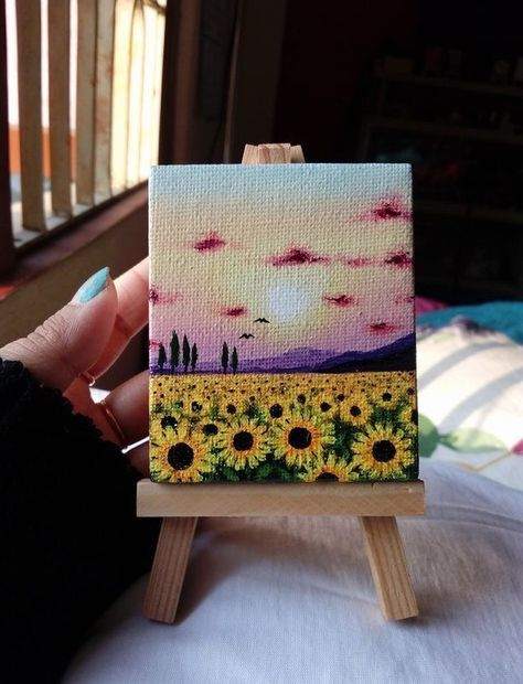 Small Canvas Paintings, Small Canvas Art, Mini Canvas Art, Simple Acrylic Paintings, Mini Paintings, Diy Canvas, Art Mini Toile, Art Sur Toile, Mini Tela