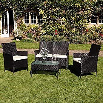 Deals Online 4pc Garden Patio Black Rattan Sofa Set Outdoor