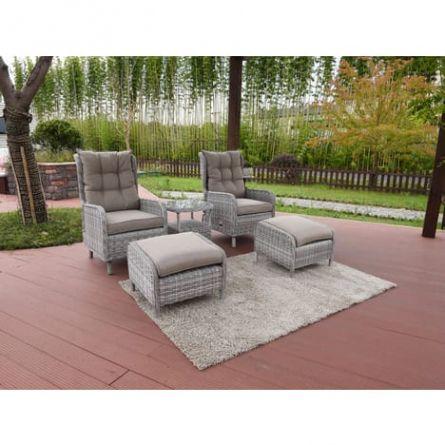 Salon De Jardin Relax En Resine Tressee Colorado Florida Gris Throughout Salon De Jardin Colora C