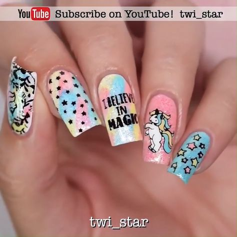 --Video Pin-- Unicorns can be considered the cutest nail designs ever!