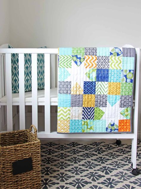Reverse hopscotch quilt by V and Co.  Very cute, quick and easy baby quilt.