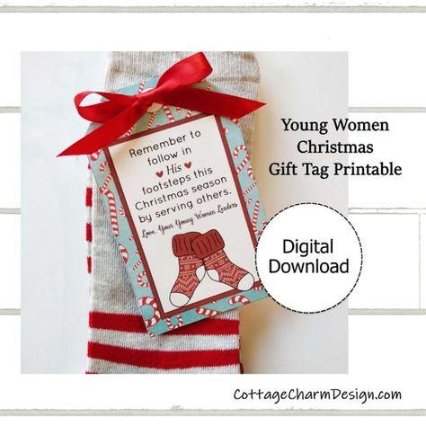 Young Women Christmas Gift Tag Printable, Young Women Christmas Socks Tag