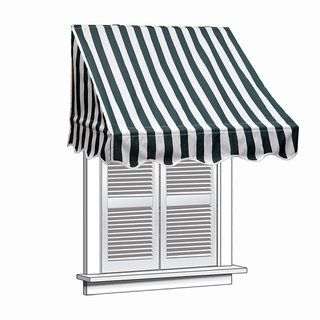 Aleko 6 Feet X 2 Feet Window Awning Door Canopy Sun Rain Shade Shelter Green White Synthetic Fiber Window Awnings Door Canopy Door Awnings