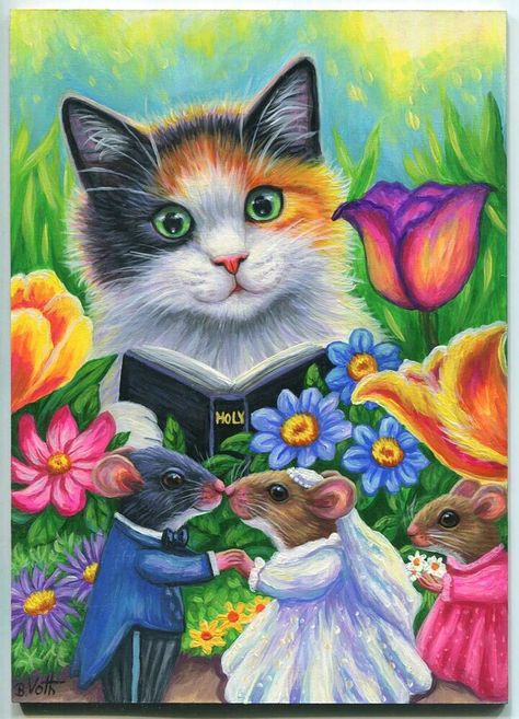 "MICE MOUSE WEDDING BRIDGE GROOM CALICO CAT MINISTER ACEO ARTIST 5"" x 7"" PAINTING #Weddings"