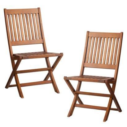 Smith & Hawken 2-Piece Wood Folding Patio Chair Set $130