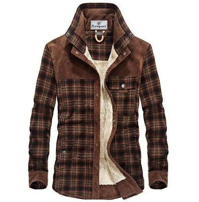 UUYUK Men Check Thickened Fleece Casual Long Sleeve Shirts