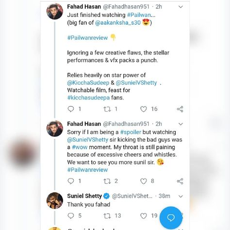 #movie #movies #film #show That fan moment when you receive a reply from the actor you admire.... Love you #sunilshetty anna. #pailwaan #kichchasudeep #aakanshasingh #movie #review#twitter #pailwan .....#like # #moviereviews #forback #celebrity #celebration