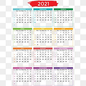 2021 Calendar Design With Verious Color Of Month 2021 Calendar Verious Png And Vector With Transparent Background For Free Download In 2021 Calendar Design New Year Calendar Bullet Journal Mood