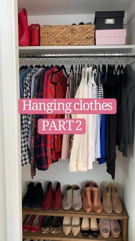 Small Closet Organization - Hanging clothes for bodysuits and long cardigans