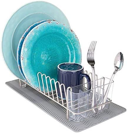 Amazon Com Mdesign Compact Kitchen Countertop Sink Dish Drying Rack And Silicone Drying Mat Drain And Dry Wine Gl In 2021 Dish Rack Drying Dry Wine Compact Kitchen
