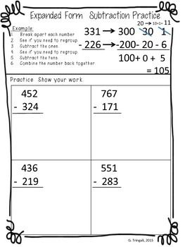 Students Are Expected To Use Many Different Strategies To Solve Subtraction Problems This Worksheet Is Desi Expanded Form Worksheets Expanded Form Subtraction