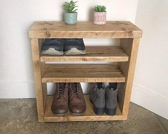 Solid Wood Rustic Shoe Bench Boot Rack Hallway Storage Etsy In