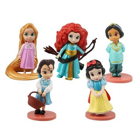 8pcs//Set Mermaid Snow White Cinderella Belle Merida Anna Elsa action figures