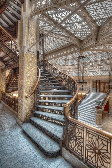 The Rookery. Burnham and Root.Completed in 1888. Frank Lloyd Wright redesigned the skylit lobby in 1905.