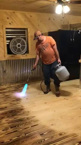Burn Staining A Floor With A Propane Torch In 2020 Staining Wood Floors Diy Wood Floors Burnt Plywood Floor