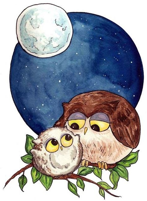 A nursery print - perfect for Owl lovers. Mama owl and baby owl. Or Papa Owl, Auntie Owl, Nana Owl.thats kinda the beauty of owls, they could represent a lot of folks. --By Georgia Dunn