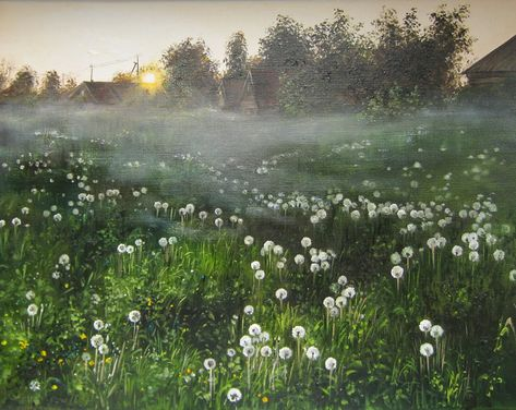 Original landscape painting oil on canvas, fluffy white Dandelions in the morning, sunrise Landscape Oil Painting, summer rustic, decor art Sunrise Landscape, Spring Landscape, Green Landscape, Landscape Design, Spring Aesthetic, Nature Aesthetic, Sunrise Painting, Contemporary Landscape, Landscape Paintings
