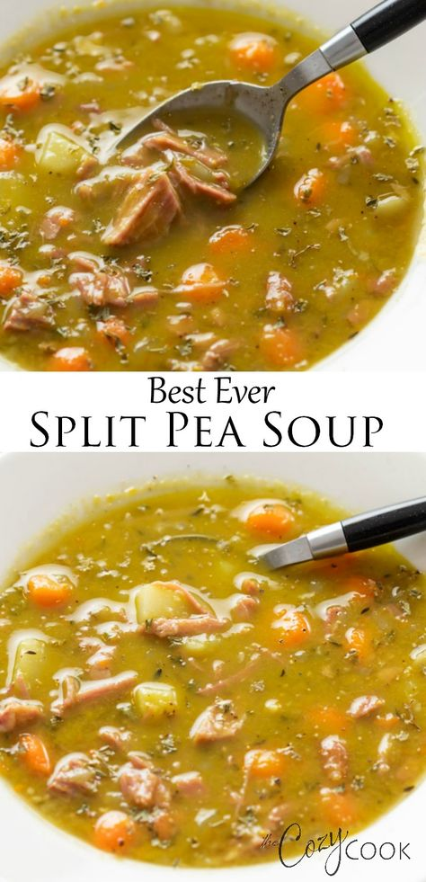 Make it on the Stove Top, Crock Pot, or the Instant Pot! This easy split pea soup has super flavorful broth made from a meaty ham bone! Soup Appetizers Soup Appetizers dinners carb Soup Appetizers Appetizers with french onion Easy Split Pea Soup, Split Pea Soup Recipe, Easy Soup Recipes, Crockpot Recipes, Cooking Recipes, Ham Bone Recipes, Canning Soup Recipes, Vegetarian Recipes, Skinny Meals
