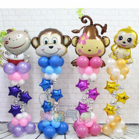 50pcs/lot Love heart Monkey upright stand column foil balloon Birthday Party decorations Baby Helium latex star balloon