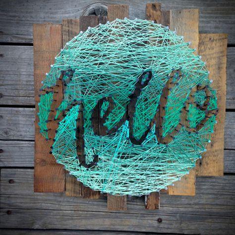Hallo String Kunst Typographie im Kreis Hand von stringandnail0
