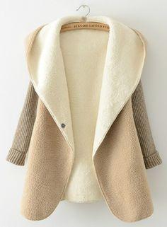 Fashion Hooded Long Sleeve Color Block Fleece Knit Outwear Coat
