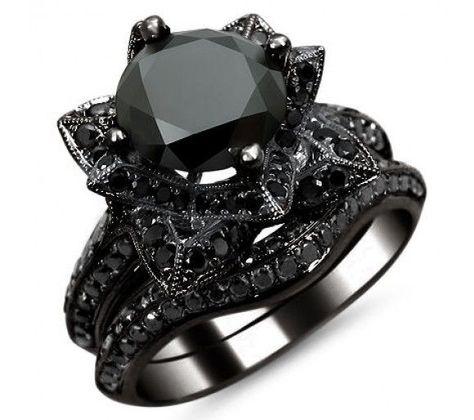 diamond lotus flower ring   0ct Black Round Diamond Lotus Flower Engagement Ring Set 14k Black ...