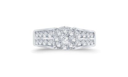 1 15 Cttw Diamond Round Cluster Ring In 10k Gold Kr9053 10kw Three Stone Engagement Rings Stone Engagement Rings Three Stone Engagement
