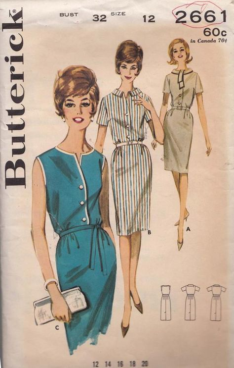 Womens 60s Dress Bust 32 Vintage Butterick Sewing Pattern 2661 | Etsy