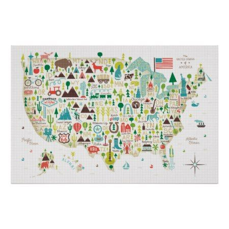 Illustrated Map Of The Usa Poster Zazzle Com Map Art Print Map Canvas Art United States Map Art