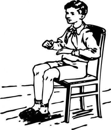 Boy Sitting In Chair Clip Art Dengan Gambar