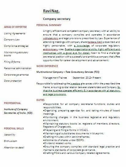 Company Secretary with BCom Degree Experience Resume Format - secretary resume template