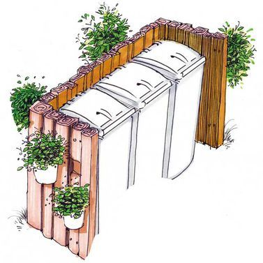 Bahnschwellen als Sichtschutz Mülltonne verstecken.  Mülltonnen Verkleidung Holz