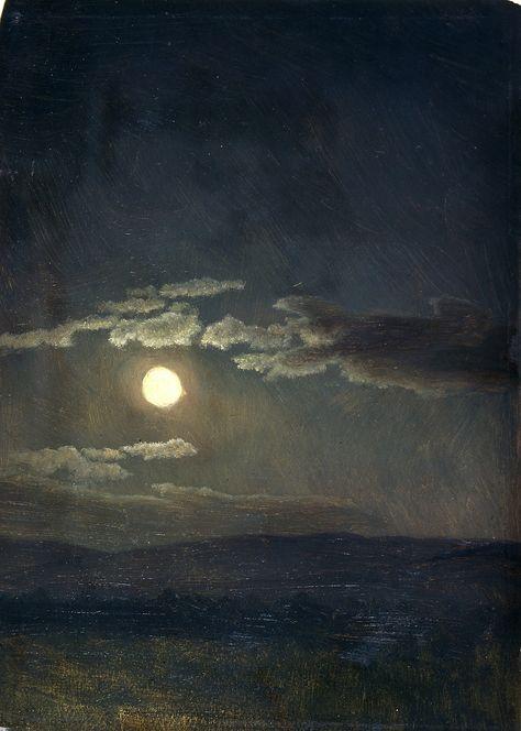 Albert Bierstadt - Cloudy Study, Moonlight