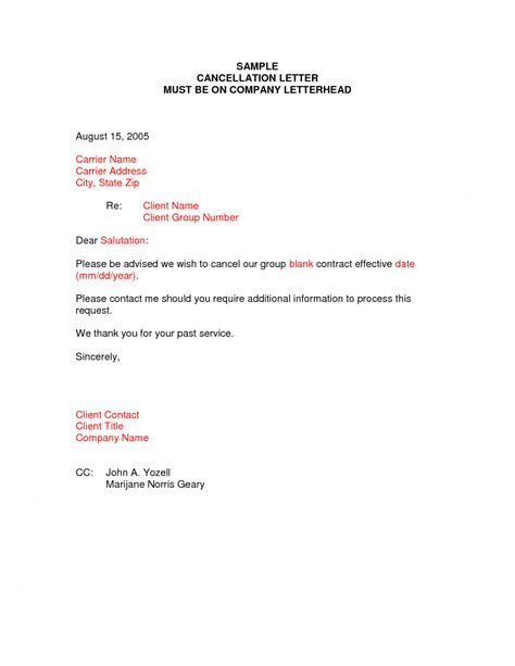 Cancellation Letter Samples Writing Professional Letters Best