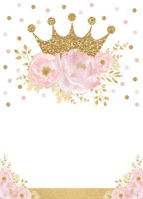 Invitación Princesa bonita Gold Crown Pink Floral Baby Shower | Zazzle.com