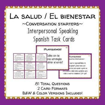La Salud Health Spanish Speaking Task Cards Conversation
