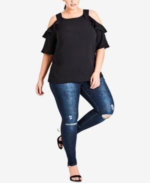 7bb944ff62367b City Chic Trendy Plus Size Cold-Shoulder Top - Black 16W
