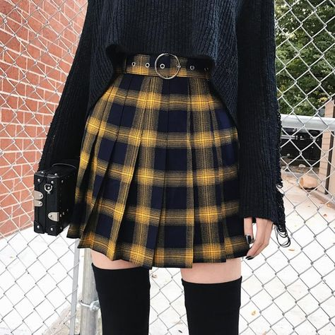 'Miss Morgue' Black and yellow plaid skirt - yellow / XL