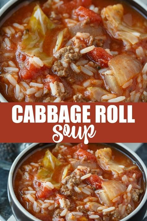 Cabbage Roll Soup - Everything I love about a cabbage roll, but 100 times easier to make! #cabbagerollsoup #soup #slowcooker