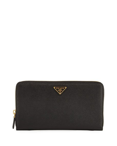 d75852e38ca37a PRADA Saffiano Extra-Large Continental Organizer, Black (Nero), 002 Nero B.  #prada #bags #leather #wallet #accessories #