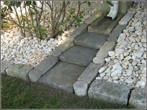 "Front Yard Garden Design Decorative Splash Blocks For Downspouts - For today, I have a very interesting post that is called Amazing Ideas - Dry Creek Beds for Landscaping "". Are you excited? Diy Herb Garden, Lawn And Garden, Garden Planters, Rain Garden, Garden Bed, Gutter Garden, Balcony Garden, Outdoor Projects, Garden Projects"
