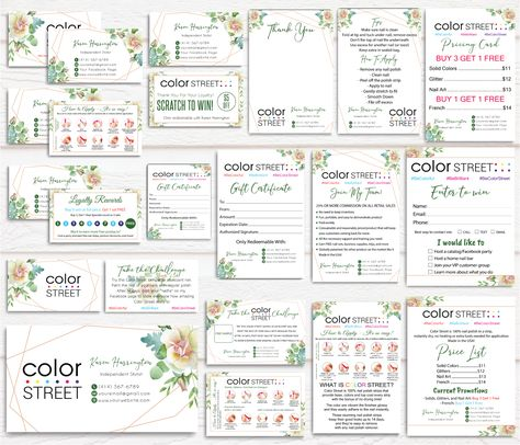 Green Floral Color Street Marketing Bundle, Personalized Color Street Nail Cards CL49 - Full Kit 16 items / 12 hours