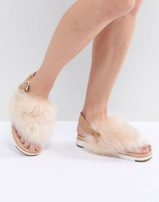 92a9b0f1f97b1 UGG Holly Beige Fluffy Beige Buckle Back Flat Sandals in 2019 ...