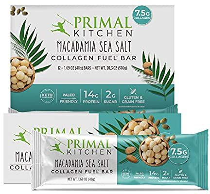 Primal Kitchen Macadamia Sea Salt Collagen Protein Bars 1 7 Oz Pack Of 12 Gluten Free Paleo Contai Primal Kitchen Collagen Protein Bars Best Protein Bars
