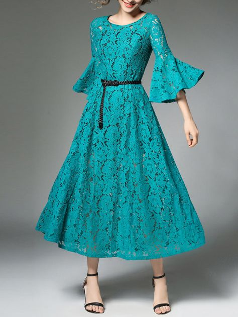 Shop Flare Sleeve Hollow Out Floral Lace Dress online. SheIn