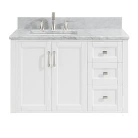 Allen Roth Floating 36 In White Single Sink Bathroom Vanity With