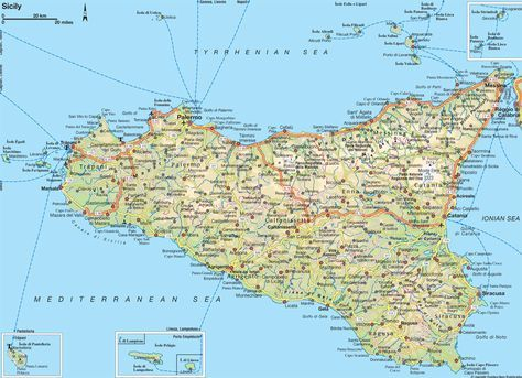 Map of Sicily | Think Sicily in 2020 | Italy map, Sicily ...