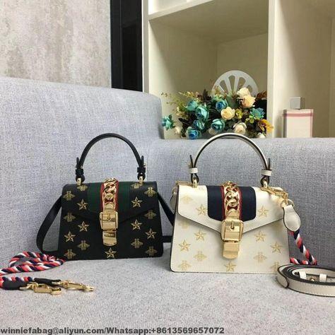 7044bbfad1e8 Gucci Sylvie Bee Star Mini Leather Bag 470270 2019   Gucci in 2019 ...