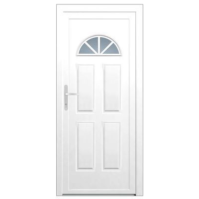 Porte D Entree Pvc Makalu Demi Lune Blanc 90 X H 215 Cm Poussant Droit En 2020 Porte Entree Pvc Porte D Entree Appartement Et Porte Entree Bois